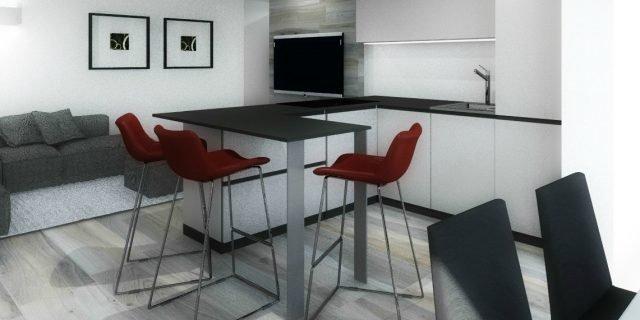 Progetto in 3D: rinunciare alla cucina separata per ricavare lo studio