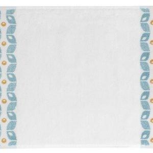 Ispirazione anni 70, con motivi giallo e azzurro , il tappeto Vintage di Maison du Monde è in cotone 100%, in abbinamento anche ad asciugamani con lo stesso decoro. Misura 50x80 cm. Prezzo 19,90 euro. www.maisondumonde.com