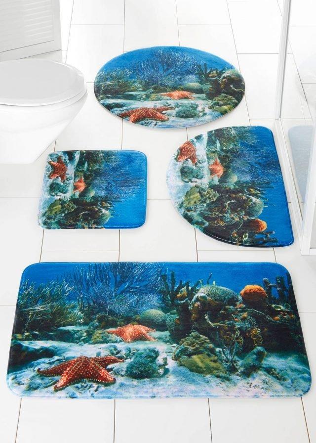 Coordinato per il bagno Reef di Bonprix è in poliestere Memory Foam: estremamente assorbente con fondo antiscivolo e adatto anche a pavimenti riscaldati, misura 45x50 cm. Prezzo (degli elementi nella foto) a partire da 9.9 euro. www.bonprix.it