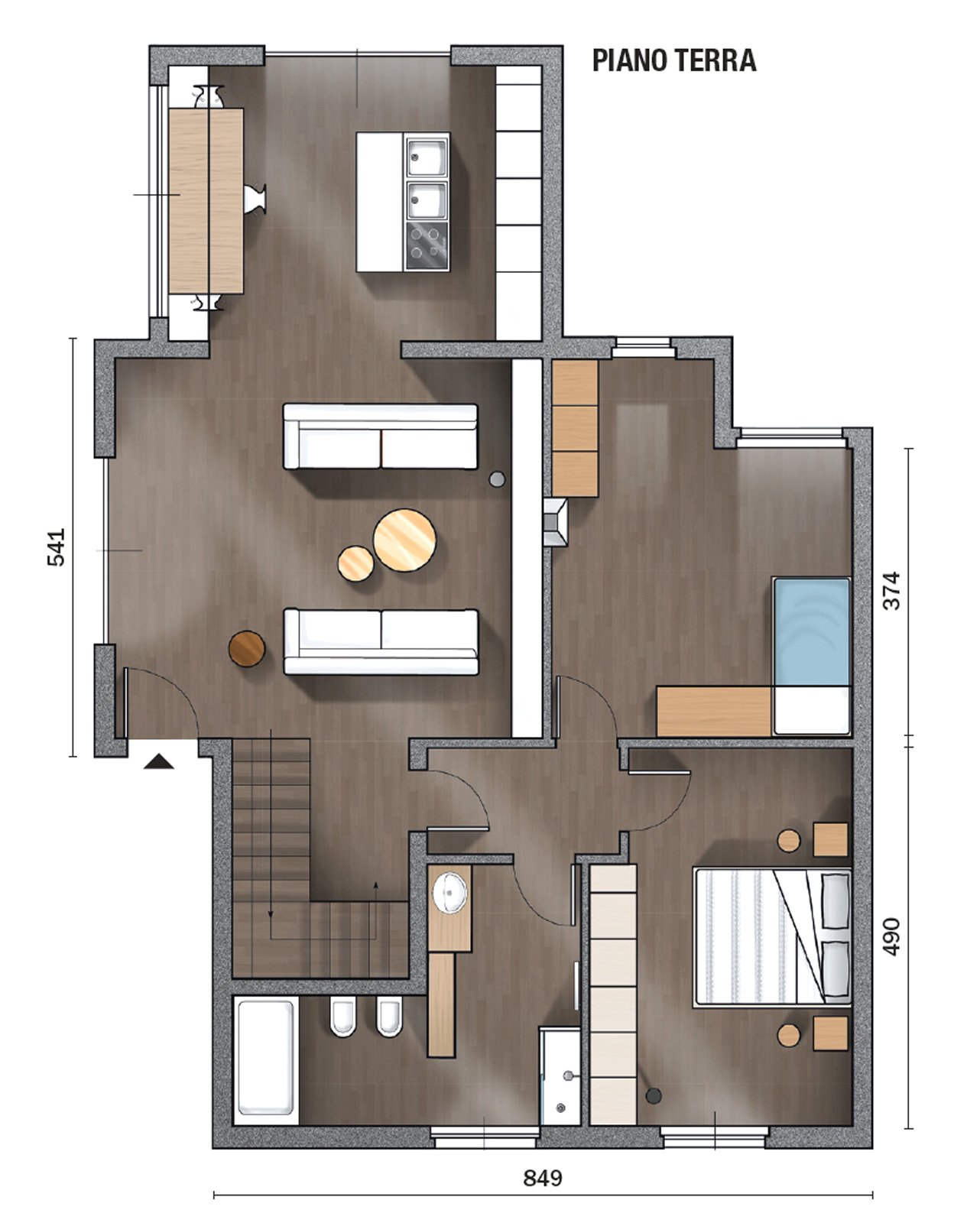 145 mq terra tetto ampi volumi a doppia altezza come in for Piccoli piani di casa in florida