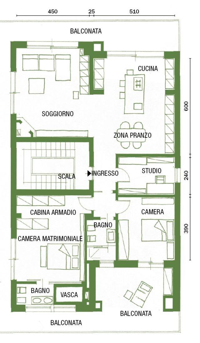 Cambio di immagine per la casa di 120 mq all 39 ultimo piano for Piani di una casa a un piano senza garage