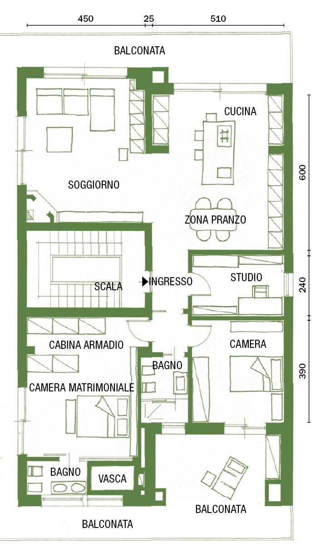 Cambio di immagine per la casa di 120 mq all 39 ultimo piano for Pianta villetta a schiera