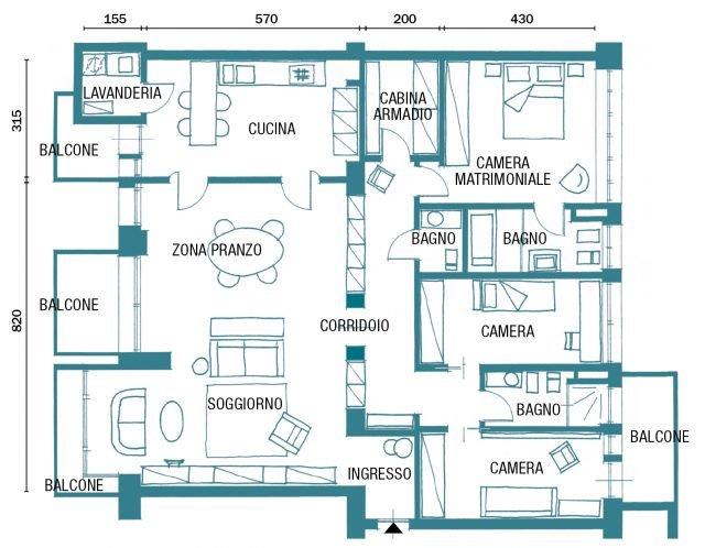 150 mq tutti da copiare dalla divisione soggiorno cucina for Piani di casa cad gratuiti