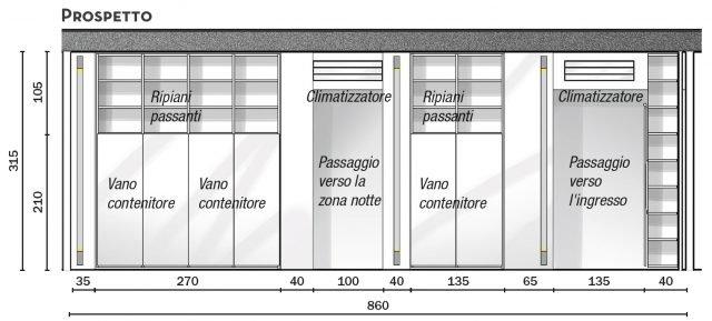 Nelle porzioni in muratura sono incassate barre verticali per l'alloggiamento di corpi illuminanti a led (sistema Dolma di Kreon). Gli split incassati nel controsoffitto in corrispondenza dei vani di passaggio sono mimetizzati nella parete grazie al sistema Alasplit di Mitsubishi.