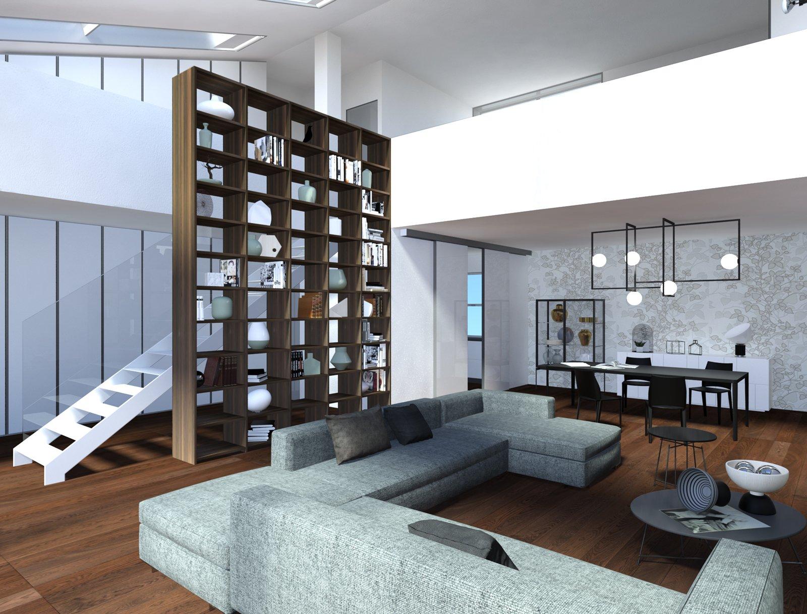 Libreria Bifacciale A Soffitto sfruttare l'altezza con gli arredi giusti: progetto di