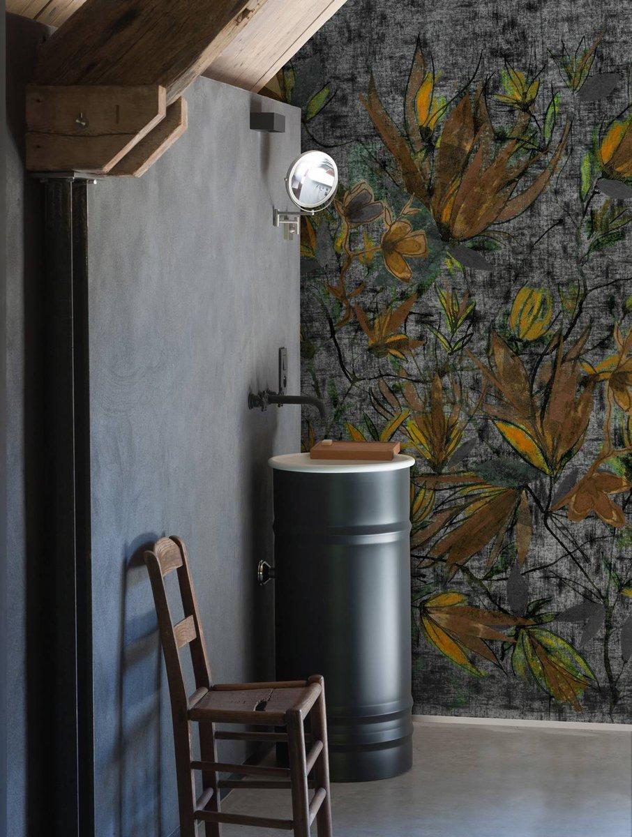 Carta Da Parati Vinilica Per Cucina carta da parati in bagno: tra decor floreale e geometrie
