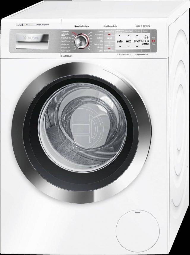 Si risparmia acqua e detersivo con la lavatrice i-DOS mod. WAYH8849IT di Bosch che dosa in modo completamente automatico il detersivo liquido e l'ammorbidente grazie a sensori integrati che rilevano la tipologia di tessuto, il carico, il grado di sporco e la durezza dell'acqua. Può essere controllata anche da remoto attraverso smartphone o pc. In classe A+++, ha capacità di carico di 9 kg. Misura L60xP59xH85 cm. Prezzo 1.299 euro. www.bosch.it
