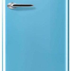 Un'unica porta nel frigorifero Nostalgie ORB153BL di Gorenje, nasconde il vano frigorifero da 235 litri e un piccolo congelatore da 25 litri, come in un  frigorifero a doppia porta. In classe A+++, ha un cassetto con temperatura più bassa per la conservazione di carne, pesce, frutta, e verdura. Misura L 60 x P 66,9 x H 154 cm. Prezzo 959 euro. www.gorenje.it
