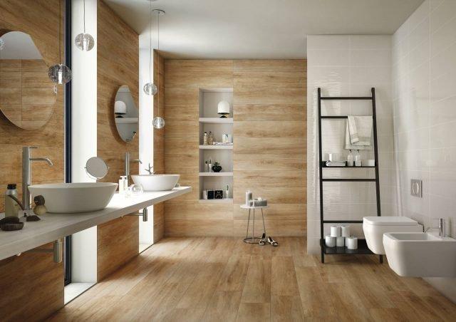 Piastrelle nuova vita ai rivestimenti con i prodotti iperceramica cose di casa - Gres porcellanato effetto legno per bagno ...