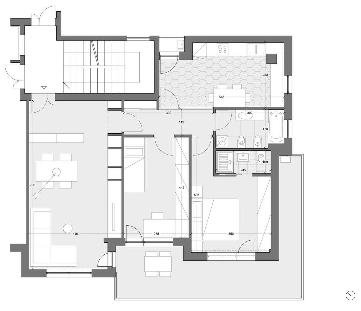 Progetto Appartamento 85 Mq parete attrezzata e setto di vetro protagonisti nella casa
