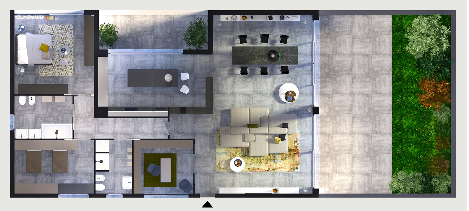 Progetto d 39 interior design una casa con zona giorno open for Progetto zona giorno