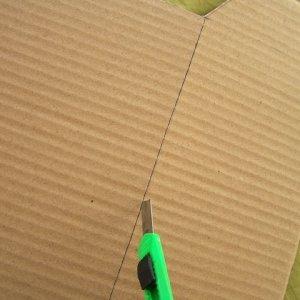 Ritagliate tutta la sagoma con il taglierino. Per piegare facilmente il cartone, fate un taglio leggero lungo le linee di piegatura. Dovete tagliare solo il primo strato di cartone e quindi piegare il cartone verso l'interno della scatola.
