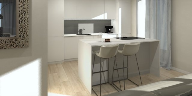 Progetto in 3D: cucina a vista e nuovo secondo bagno