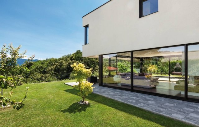 Modern villa, outdoor, view from the garden