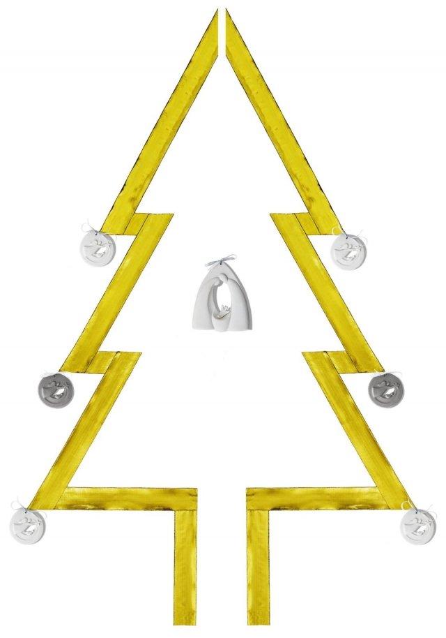 L'albero di Natale a muro di Lineasette permette di sfruttare al meglio lo spazio: l'abete infatti è creato con una striscia di seta color oro a cui vengono fissati le decorazioni in gres porcellanato a basso rilievo. Il risultato è un albero trompe-l'oeil, originale e suggestivo come un'opera d'arte contemporanea. Le decorazioni sono disponibili in due formati, tondo o a capanna. Prezzo a partire da 37,30 euro cad.   www.lineasette.eu