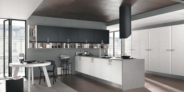 Cucina: vani a giorno per dare movimento alla composizione