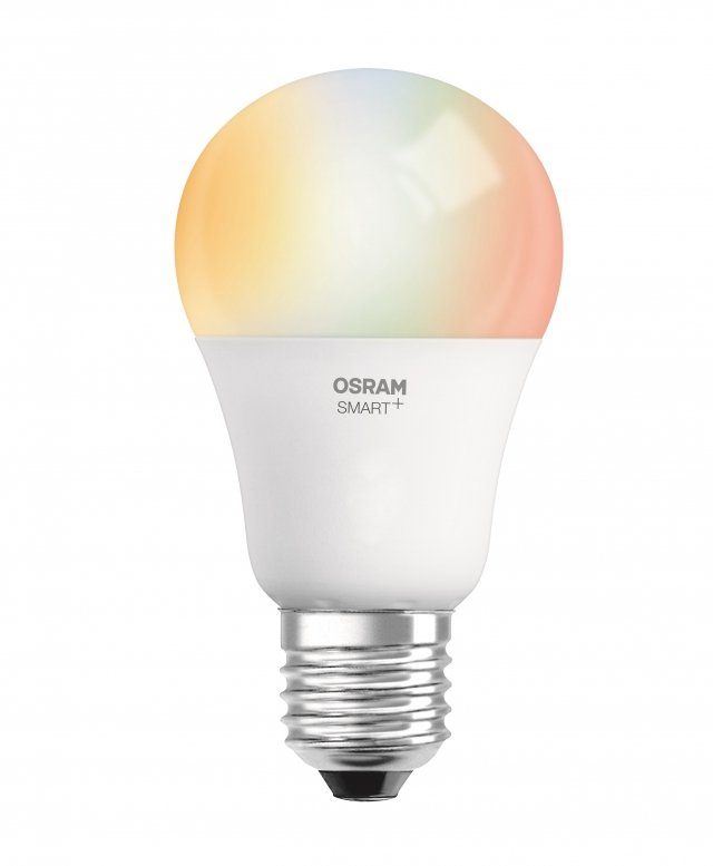 OSRAM SMART + Classic A60 LED bulb from Ledvance compatible with Apple HomeKit.  Attack E27, equivalent 60W, 16 million colors.