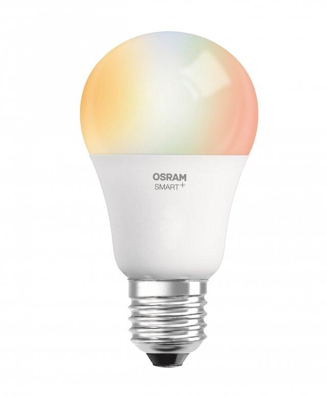Lampadina LED OSRAM SMART+ Classic A60 di Ledvance compatibile con Apple HomeKit. Attacco E27, 60W equivalenti, 16 milioni di colori.