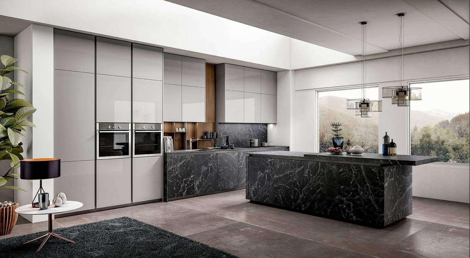 Cucina bianca con top nero arredamento e casalinghi in
