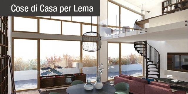 Lo studio sul soppalco per sfruttare l'altezza del soggiorno. Progetto in 3D
