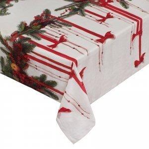Tovaglia natalizia Art. 006537136 di Coincasa. In puro cotone con stampa digitale motivo natalizio. Misura 160x 240 cm. Prezzo 69,90 euro. www.coincasa.it
