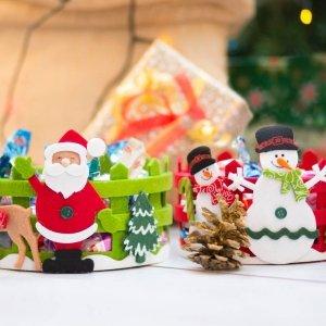 Cestino tondo con decoro natalizio di DMail.