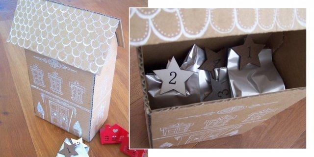 Calendario dell'Avvento fai da te: una casetta con sacchetti numerati di caramelle