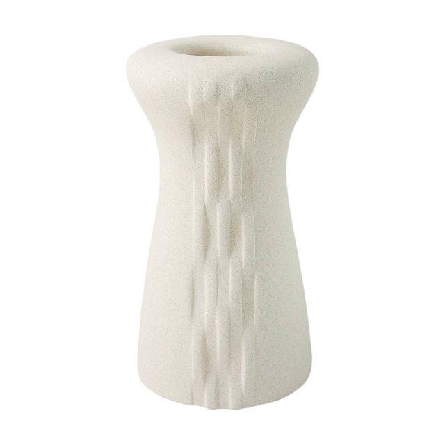 In Kergres® con decorazioni a mano effetto pietra il vaso Stone Habita di Wald è disponibile nei colori bianco o grigio. Misura 19x23h cm. Prezzo 59,85 euro. www.wald.it