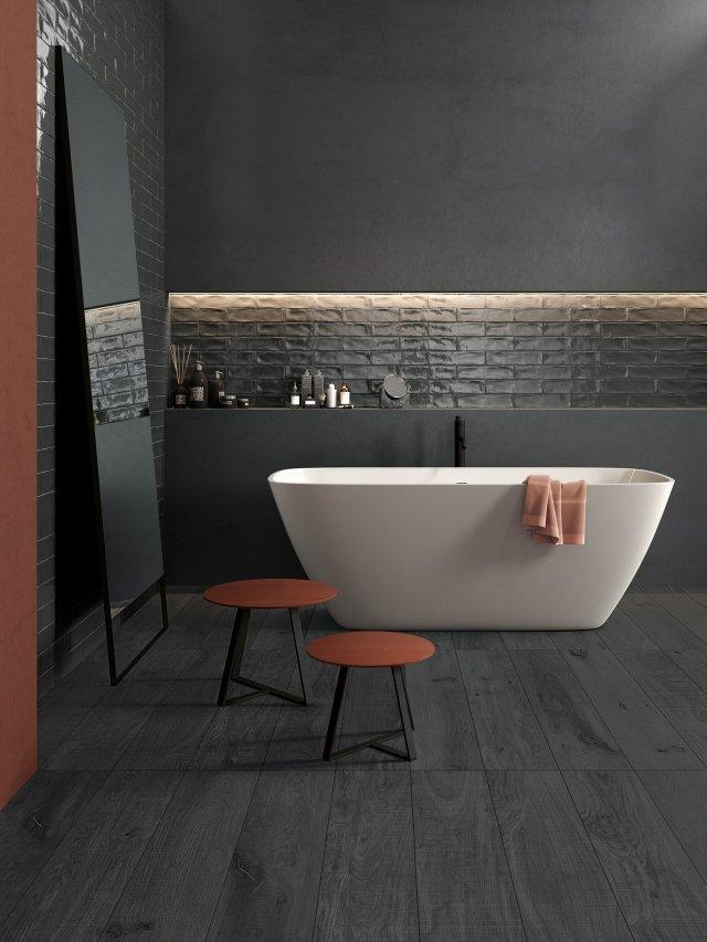 Crossroad Chalk, di ABK, è un gres ispirato al mondo degli intonaci, riproducendone la granulometria e l'effetto dinamico della superficie. Disponibile in un vasto programma di formati, è declinato anche nella serie Wide, lastre che raggiungono dimensioni fino a 320x160 cm per soli 7 mm di spessore. I colori variano fra cinque toni: White, Coal, Sand, Grey e Smoke.