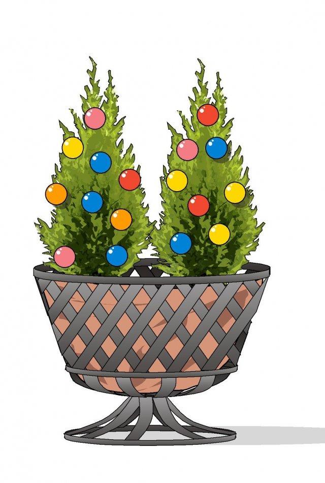1. In un cestino o in un secchio di latta ampio, da appoggiare a terra o su un tavolo, sono adatte le conifere di piccola taglia, quelle nane da giardino roccioso, che si possono semplicemente addobbare con pigne colorate o festoni.