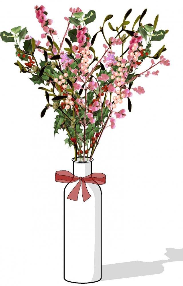4. Se abbiamo bottiglie di vetro che ci piacciono, vasi trasparenti o altri contenitori stabili, possiamo fissare sul fondo un pezzo di spugna da fiorista ben inumidita e poi rami di ardisia, pungitopo, sinforina e vischio da acquistare già recisi presso i fiora.