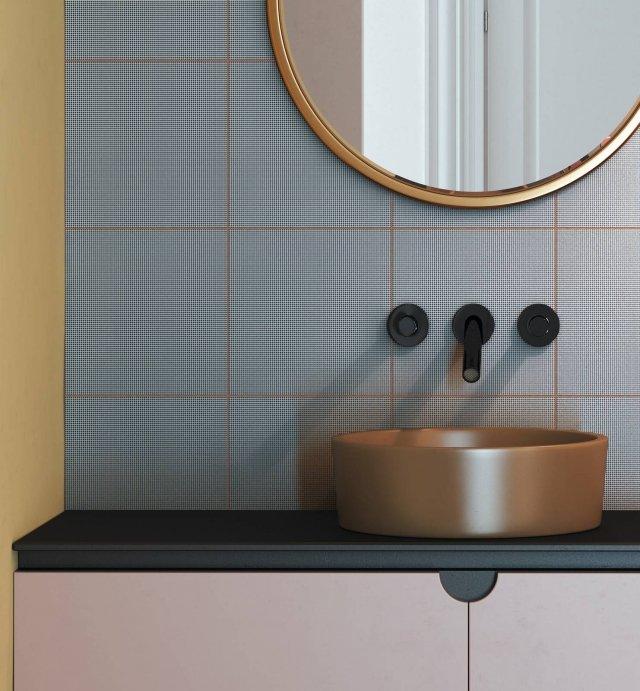 Graph, di Ceramica Vogue, è una collezione di piastrelle rettificate in gres smaltato ingelivo. È disponibile nei formati 50x50 cm, 25x25 cm, 10x25 cm e in 14 tonalità di colori neutri che interpretano diverse sfumature di grigio, tortora, marrone e nero, e in 15 colori accesi. La serie è definita da una micro texture geometrica.