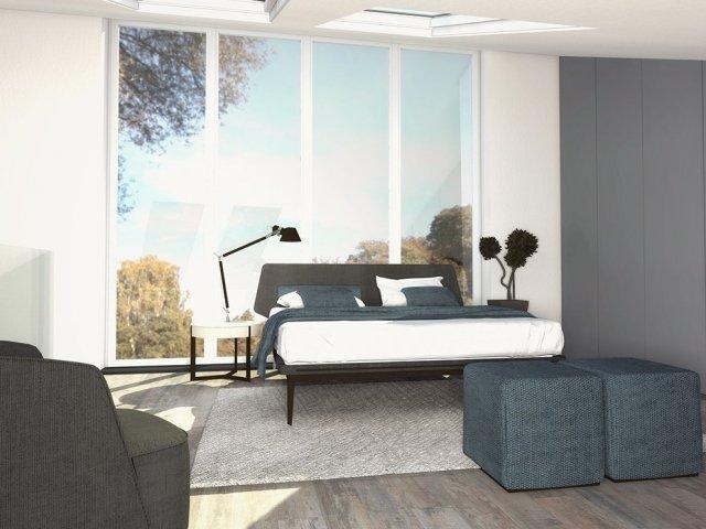 camera arredare con soffitto spiovente