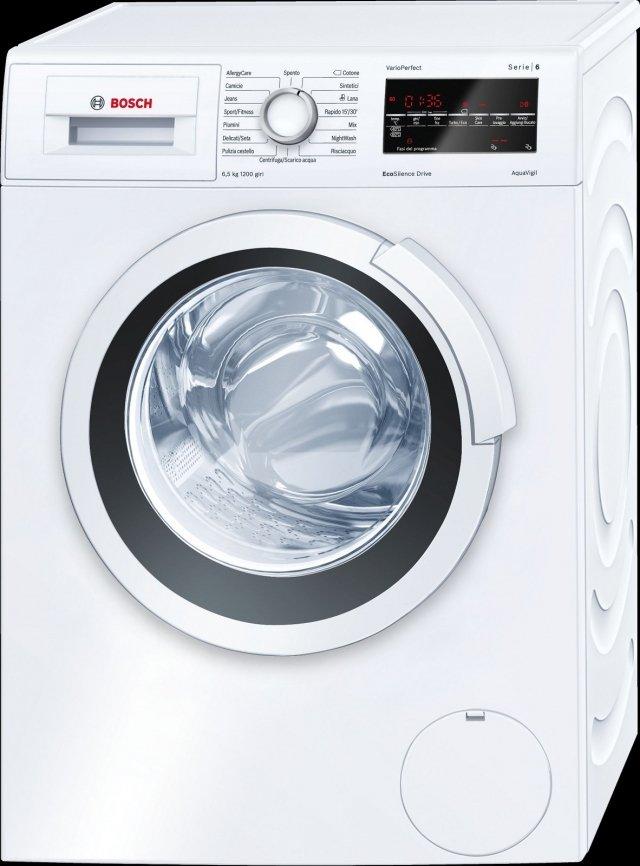 La lavatrice a carica frontale da 6,5 kg EcoSilence Drive™ WLT24427IT di Bosch ha motore Inverter molto silenzioso che durante il lavaggio raggiunge un livello sonoro max. di 52 dB(A). Dotata di sistema VarioPerfect™ che permettere di scegliere se risparmiare fino al 65% di tempo, con l'opzione TurboPerfect, o fino al 50% di energia, con EcoPerfect. In classe di efficienza energetica A+++, ha programma specifico per persone che soffrono di allergie. Misura L 60 x P 45 x H 85 cm. Prezzo 699 euro. www.bosch.it