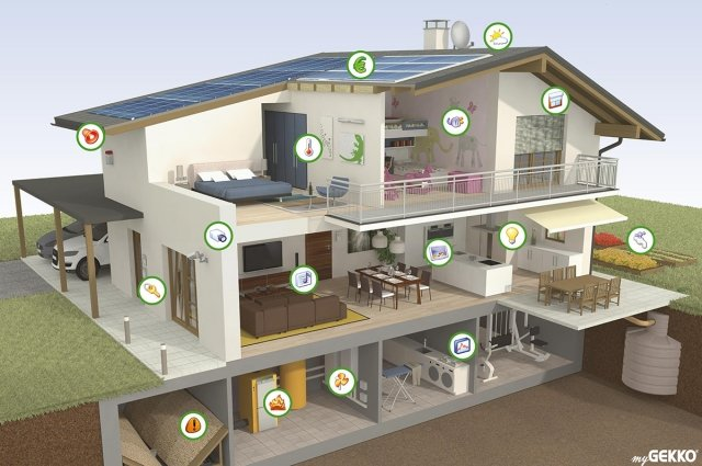 myGEKKO di Eikon è un sistema di domotica che integra oltre alle funzionalità di base (luci, tapparelle, riscaldamento, sicurezza) anche l´interfacciamento di erogatori di calore, condizionatori, sistemi di raffreddamento e deumidificazione, pompe di calore di vari produttori. L'applicativo personalizzabile raccoglie ed elabora le vari informazioni, semplifica la sorveglianza e mette a disposizione varie interfacce. Prezzo su preventivo.  www.my-gekko.com