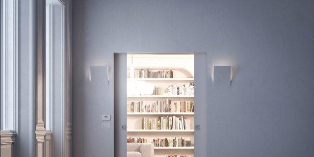 Porte filomuro in legno, laccate o rifinite come la parete, oppure in vetro