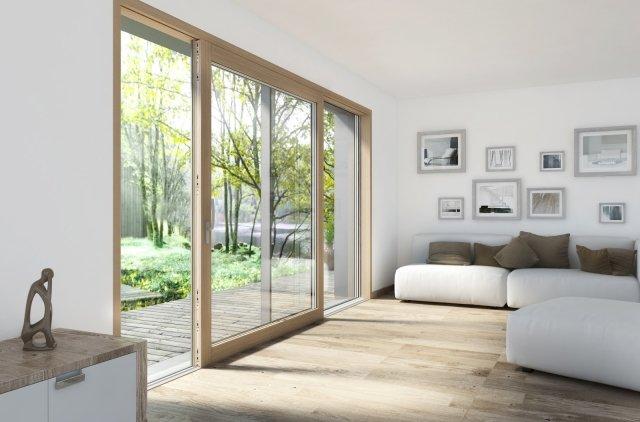 Si presenta con un design moderno la porta alzante scorrevole HS330 di Internorm in legno/alluminio. Squadrata sia all'interno sia all'esterno, ha angoli vetrati adatti a un'architettura moderna. Si integra perfettamente nella muratura ed è intonacata sui tre lati: in questo modo soltanto il vetro rimane visibile. È dotata di triplo vetro di sicurezza di serie per un isolamento termico Uw fino a 0,73 W/m²K. Con opportuno vetraggio raggiunge un isolamento acustico fino a 40 dB. Prezzo su richiesta. www.finestreinternorm.it