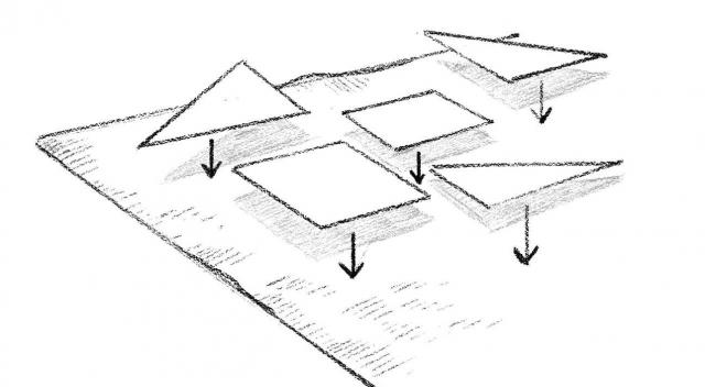 Preparazione ➊ Ritagliare un quadrato 100 x 100 cm dal foglio di carta e disegnare a tutto campo il motivo scelto. ➋ Suddividere il disegno in sezioni e abbinare un colore a ciascuna. ➌ Numerare in successione ogni sezione. Scattare una fotografia come promemoria. ➍ Ritagliare le sagome. • Esecuzione ➎ Con gli spilli, puntare ogni sezione di carta alla stoffa corrispondente. ➏ Tagliare le eccedenze della stoffa a misura della sagoma, seguendone il profilo. ➐ Ripetere l'operazione per tutte le sezioni. ➑ Su una superficie d'appoggio e iniziando dall'angolo in basso a destra, comporre il patchwork sul panno, posizionando e puntando con uno spillo una sezione di stoffa per volta. ➒ Verificata l'esattezza, procedere al fissaggio di ogni sezione con la colla. Stirare.