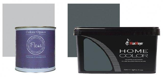 Colore. Più a sinistra, idropittura murale Fleur all about grey. Da 2,5 litri, costa 39,90 €; l'altra è idropittura murale Max Meyer Home Color smoky. Da 2,5 litri costa 24,90 €