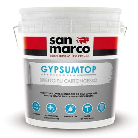 Gypsumtop di Colorificio San marco (www.san-marco.com): idropittura acrilica murale lavabile di classe 3.