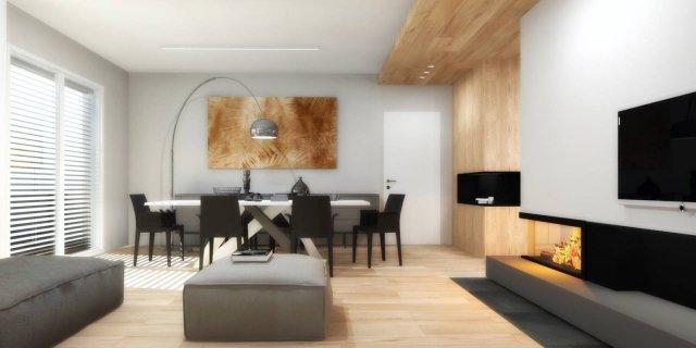 Living open space nell'appartamento con mansarda