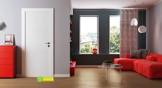 In laminato spazzolato, la porta Star è di qualità Standard, con un buon rapporto qualità e prezzo, perfetta per una casa di proprietà. Misura L 80 x H 210 cm, costa 239,90 €