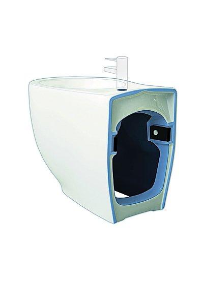 Open bidet, Le Fiabe di Hatria è sagomato sul retro per adattarsi ai vecchi scarichi. Il vaso abbinato ha invece lo scarico traslato e il fissaggio rapido. www.hatria.com