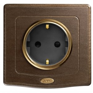 Placca Ave England Style 44 legno per scatola tonda quadrata con presa shuko serie TEKLA