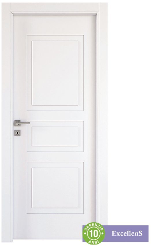 Di qualità Excellens, la porta Alioth con riquadri valorizza anche interni classici. In mdf bianco, misura L 80 x H 210 cm, costa 359,90 €