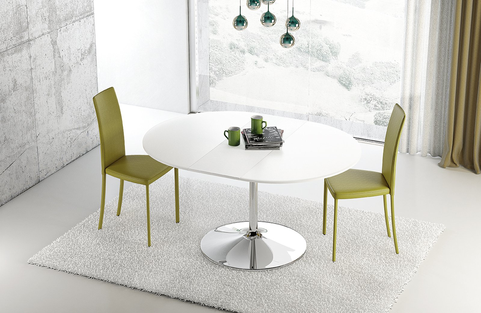 tavolo rotondo allungabile contemporaneo classico in