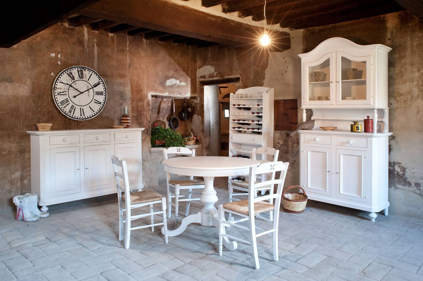 Tavolo rotondo allungabile contemporaneo classico in for Country francese arredamento