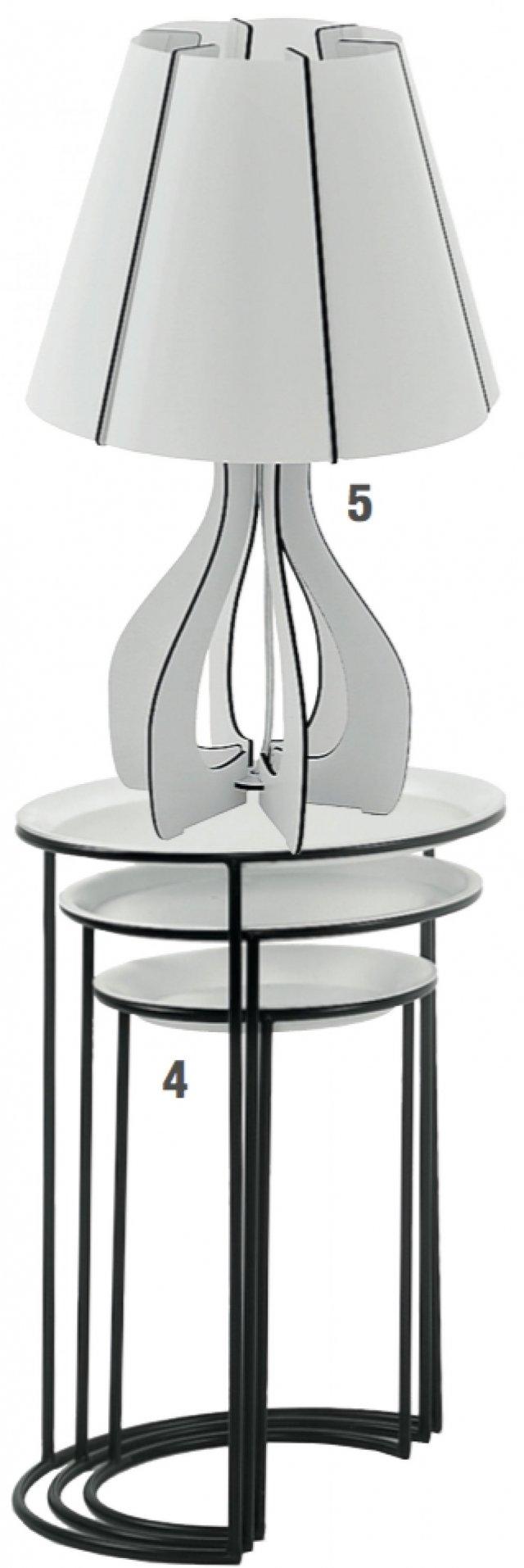 Con base in metallo nero e piatto bianco, che può diventare vassoio, i tavolini estraibili Nura di Livitalia (www.livitalia.it) misurano Ø 51/44/35 x H 66/59/50 cm). Prezzo del set da tre 135,45 euro. 5. La Base in legno e paralume in plastica per la lampada di Mazzolaluce misura L 22,5 x H 45 cm. Prezzo 42,50 euro. www.mazzolaluce.com