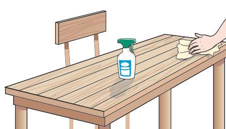 1. Tavoli, sedie, scaffalature possono essere lavati con detergenti specifici in base al materiale, soprattutto se sono di legno, oppure con una soluzione molto delicata a base d'acqua e sapone di Marsiglia. Dopo aver lavato, occorre sciacquare e asciugare poi con un panno morbido e pulito.