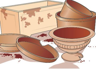 2. Inoltre occorre dare una corretta sistemazione ai vasi vuoti e all'attrezzatura, oltre a buttare via quello che non ci occorrerà oppure è rotto.